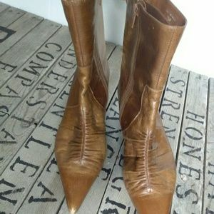 Mia Ankle Boots Brown Leather Women's Sz 7.5